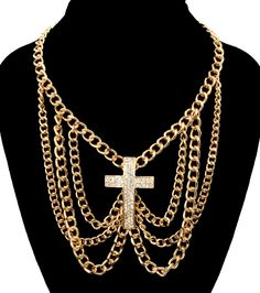 Gold Bling Rhinestone CROSS DRAPE Statement Necklace SHORT Metal Link Chain