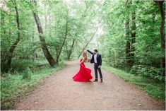 Engagement Session in the Woods, Red Dress and Navy Suit Jacket with Jeans Outfit Inspiration | Great Falls Virginia Engagement Session | Brittany Drosos Photography
