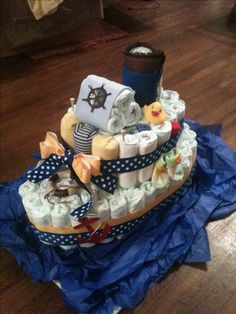 "My first diaper ""boat"" cake. A fun break from traditional diaper cakes."