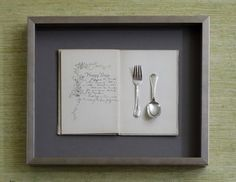 shadow box - antique recipe and silverware