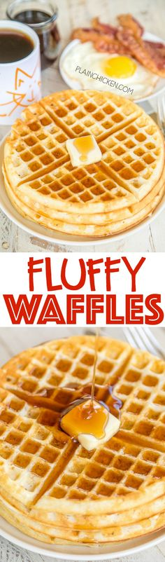 Fluffy Waffles - seriously the most DELICIOUS waffles EVER!!! Better than the Waffle House! I promise!! SO easy to make. Can freeze leftover waffles for a quick breakfast later. Flour, baking powder, salt, eggs, milk and oil. Just add butter and maple syr