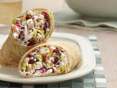 Lemon Roasted Chicken Salad Wrap Recipe : Jeff Mauro : Food Network - Use leftover roast chicken to whip up Jeff's chicken salad studded with sweet cranberries and crunchy celery. Wrap it up in soft tortillas for a lunchbox-friendly meal. Food Network Recipes, Cooking Recipes, Healthy Recipes, Healthy Meals, Healthy Eating, Lemon Recipes, Healthy Chicken, Delicious Recipes, Healthy Food