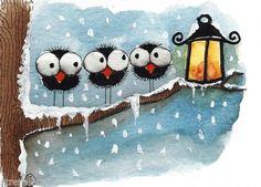 ACEO Original Watercolor Painting Folk Art Whimsy Bird Crow Tree Snow Lantern | eBay
