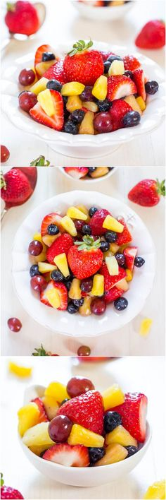 Vanilla Fruit Salad - The easiest fruit salad ever thanks to a secret ingredient! Make it for your next party and watch it disappear! Vanilla Fruit Salad - Th Healthy Desserts, Delicious Desserts, Healthy Recipes, Party Desserts, Healthy Food, Vanilla Fruit, Fruit Salad Recipes, Fruit Salads, Fruit Fruit
