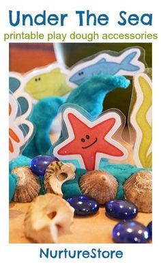 Free printable sea creatures for ocean play dough by Kate from Picklebums at Nurture Store