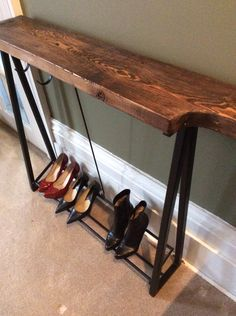 Beautiful Rustic Entrance Table with storage! Salvaged Wood with Black Painted Metal Legs. Entrance Table, Painted Metal, Salvaged Wood, Metallic Paint, Shoe Rack, Repurposed, Tables, Rustic, Legs