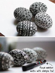 easter ideas in black and white colors, spring holiday table centerpieces