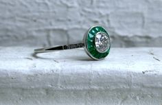 Vintage Art Deco Platinum Diamond and Emerald Engagement Ring - 1.31ct....band is rather thin