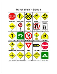 travel bingo printables for mini traffic signs...or bingo! Laminate several themed cards, link together with key ring, include white board marker and wipe cloth.