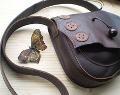 Handmade LARGE Leather bag, Satchel, Button detail, Darkest Brown, Marmite, GYPSY by Fairysteps @ etsy