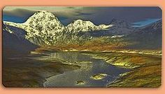 Grafikschild mit Berglandschaft