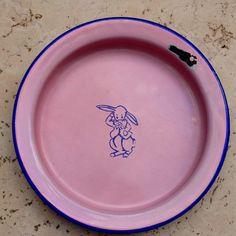 Pink enamelware baby dish - 1930's