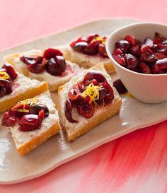 cherry, lemon & ricotta crostinis
