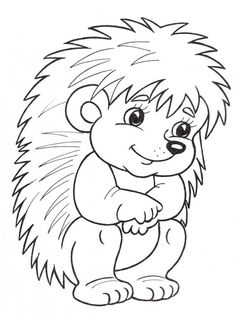 Hedgehog Coloring Page Animal Coloring Pages, Coloring Book Pages, Coloring Sheets, Hedgehog Craft, Mandala Coloring, Coloring Pages For Kids, Animal Drawings, Easy Drawings, Applique