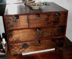 And this is MY Ikea FIRA, found through a google search.  I love it when that happens.  Red painted body, stained drawers with painted Thai block-prints o the front