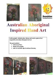 In this project, students plan, design and create a piece of art inspired by Australian Aboriginal rock art. The pack includes:· Full Lesson Plans Student work sheets· Photos of examples· Links to YouTube clips to enhance learning... Hand Art, Plan Design, Student Work, Rock Art, Teaching Resources, Lesson Plans, Sunshine, Students, How To Plan