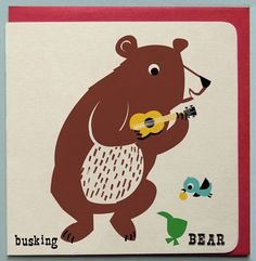 Busking bear Card © kay vincent