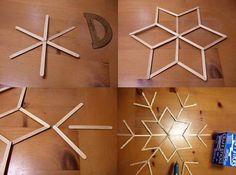 copos de nieve hecho con palitos de madera - Buscar con Google