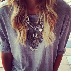 tshirt, t shirt, chunky, statement, necklace, bling, jeans, gray, dress up, style