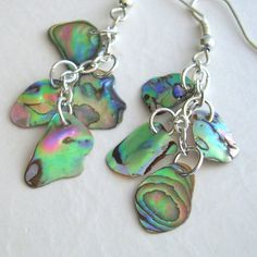 Paua Earrings Abalone Shell Jewelry in Tropical by cindylouwho2, $25.00