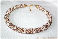 Gorgeous ornamented pattern bead crochet necklace by Shinkabeads, $75.00