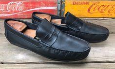 70ec814a8c8 FLORSHEIM Jasper  14141 Black Leather Driving Moc Shoes Penny Loafers Men s  12D