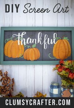DIY painted screens - easy fall craft or for use anytime to make painted window screens. Painted Window Screens, Window Screen Crafts, Old Window Screens, Old Window Frames, Screen Doors, Painting On Screens, Old Window Art, Window Ideas, Time Painting
