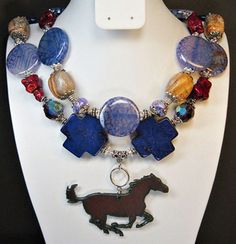 """Love the blues and how the horse has a """"happy"""" tail. Makes me smile."""