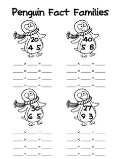 {FREE} Penguin Fact Families: Addition/Subtraction & Multiplication/Division