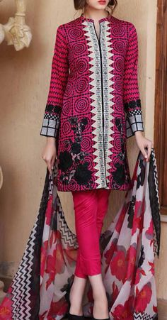 Magenta Embroidered Cotton Lawn Dress  Contact: (702) 751-3523   Email: info@pakrobe.com   Skype: PakRobe
