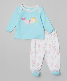 Loving this Vitamins Baby Blue 'Sweet Dreams' Lap Neck Tee & Footie Pants on #zulily! #zulilyfinds