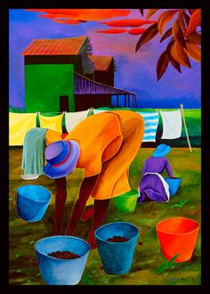 Pecan Pickers by Ivey Hayes African American Artist, American Artists, African Art, Black Art, Black Women Art, Caribbean Art, Tropical Art, Afro Art, Naive Art