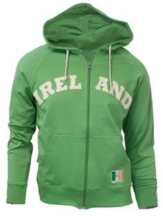 Green Ireland Zip Hoodie Sweatshirt for Nate