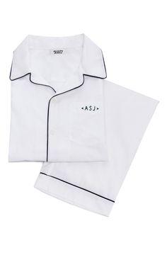 Men's Pajama Set in White with Navy M'Onogram by Sleepy Jones Sleepy Jones, Boy Shorts, Tomboy, Pajama Set, Runway Fashion, Lounge Wear, Gentleman, Monogram, Prom