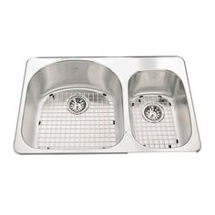 Kindred CDC2031 Cuisinette Accessorized Topmount 31.5-in Double Offset Kitchen Sink with Faucet Ledge