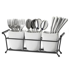 Store and display your flatware on the B. Smith Flatware Caddy for an organized look in your dining area. Featuring 3 durable white porcelain holders, this caddy boasts a design that complements any interior decor and your guests are sure to love. Estoque Do Trailer, Shabby Chic Kitchen, Kitchen Decor, Diy Kitchen, Vintage Kitchen, Kitchen Ideas, Kitchen Organization, Kitchen Storage, Door Storage