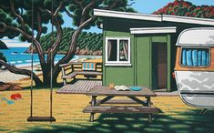 Matapouri Bay print by Tony Ogle, NZ. View of a bach, grass, tree and beach in distance. Swing and picnic table.