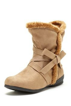 fall is coming: Carrini Strappy Faux Fur Trim Boot