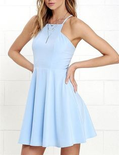 2016 Custom Charming Light Blue Homecoming Dress,Sexy Halter Evening Dress…