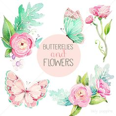Butterfly and Flowers Watercolor Clip Art - Digital Download - Pink Green Mint Teal - 5 PNG by Lady Poppins