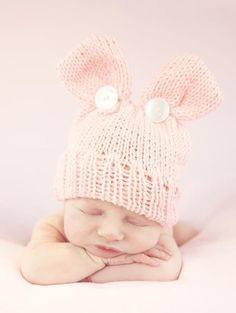 d6b60478356 Bunny ear hat pink knit Handmade Baby Gifts