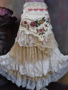 Your place to buy and sell all things handmade : wedding skirttattered skirt mori girl stevie nicks Bohemian Skirt, Gypsy Skirt, Boho Skirts, Stevie Nicks, Mori Girl, Gypsy Style, Boho Gypsy, Lace, Outfits