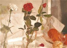 """""""Flores y naranjas sobre la mesa"""". Óleo sobre tabla. Salvador Caro."""