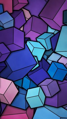 Abstract Blue Cyan Purple Cubes iPhone 6 Plus HD Wallpaper