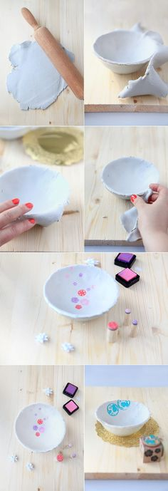 DIY Sweet Bowl Tutorial for air dry clay Cute Crafts, Diy And Crafts, Crafts For Kids, Arts And Crafts, Diy Fimo, Diy Clay, Polymer Clay, Clay Projects, Diy Projects To Try