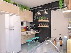 Claro que eu teria uma cozinha dessa na minha casa. Olha quantos detalhes lindos. 💙 #decorfeelings via @pacuryarqeng