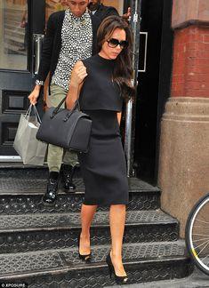 Victoria Beckham.. black pencil skirt with matching sleeveless top, 'The Victoria' tote from her label - http://www.net-a-porter.com/product/382262?cm_mmc=LinkshareUS-_-8/btisdd0hQ-_-Custom-_-LinkBuilder&siteID=8_btisdd0hQ-TMrnHvhp7m35rEvKwZ04QA.. Cutler and Gross 0811 Sunglasses, Giuseppe Zanotti Fall 2013 Pumps..