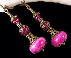 Hot Pink Jeannie Bottle Victorian Earrings I Dream of Jeannie Charm Steampunk Genie Drops Antique Brass Filigree Titanic Temptations Jewelry by TitanicTemptations on Etsy https://www.etsy.com/listing/261297170/hot-pink-jeannie-bottle-victorian