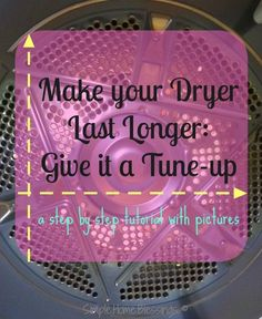 In this post I& showing you how to tune up a dryer with precise instructions and detailed, clear pictures. When you& done your dryer will run better and last longer. Diy Cleaning Products, Cleaning Solutions, Cleaning Hacks, Deep Cleaning, Cleaning Supplies, Diy Home Repair, Laundry Hacks, Homekeeping, Cleaners Homemade