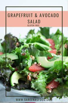 Grapefruit & Avocado Salad – Sareena's Food Grapefruit Avocado Salad, Grapefruit Juice, Crunchy Chickpeas, Winter Salad, Salad Ingredients, Seaweed Salad, Lettuce, My Recipes, Kitchens